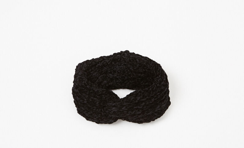 Hoofdband van chenilletricot zwart