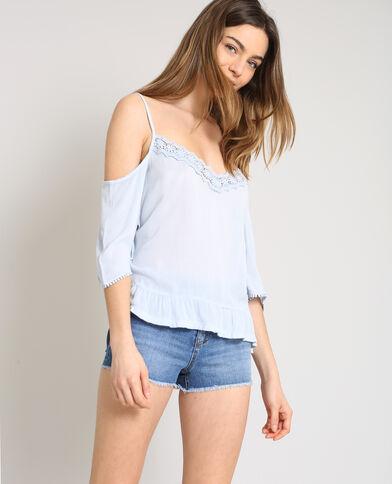 Shirt met peekaboomouwen blauw