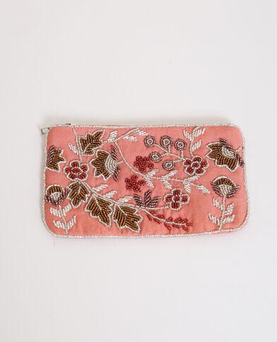Geborduurd enveloptasje roze