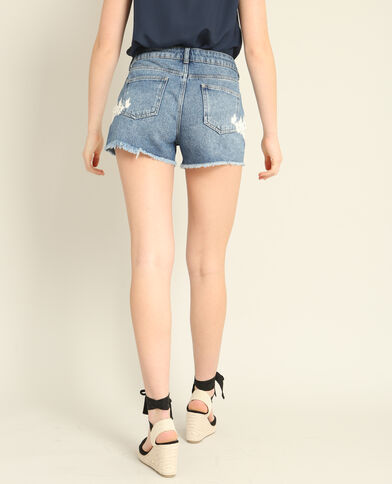 Short en jean brodé bleu denim