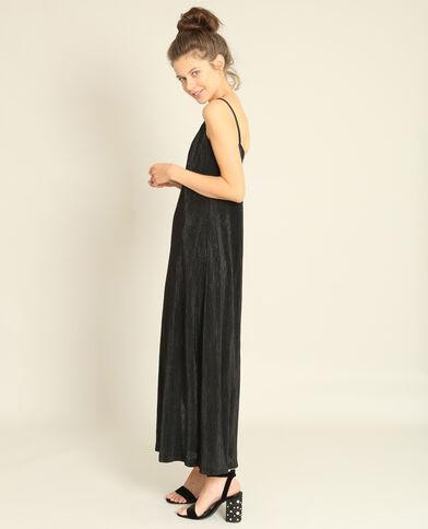 Lange gestructureerde jurk zwart