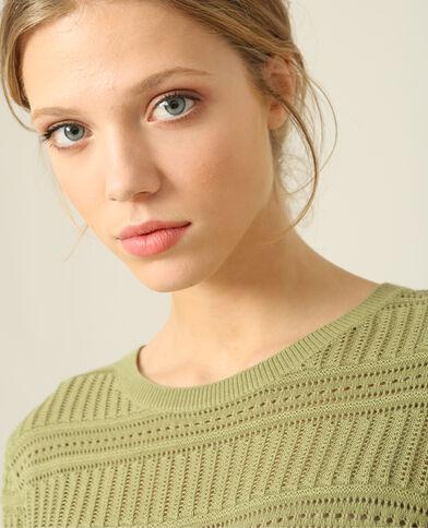 Opengewerkte trui groen