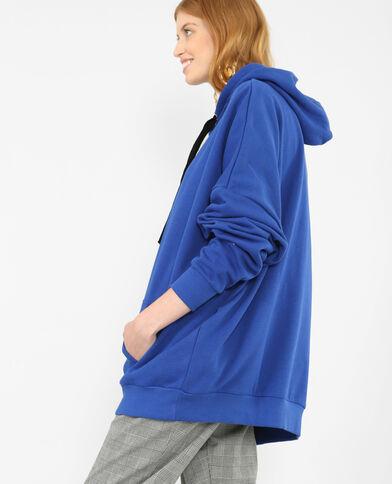 Lange sweater met kap elektrisch blauw