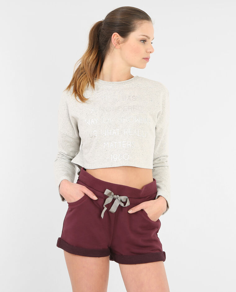 Sweat cropped à message gris
