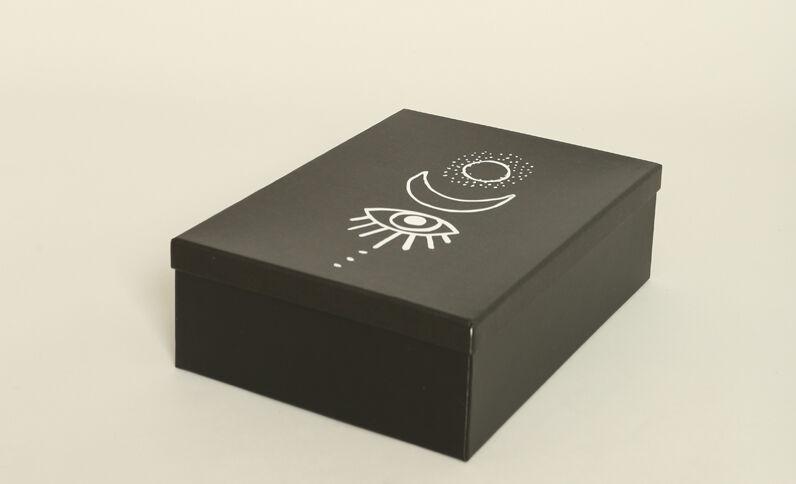 Set van drie doosjes met print zwart