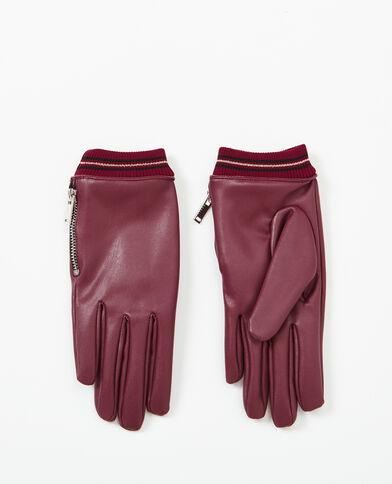 Handschoenen van kunstleer granaatrood