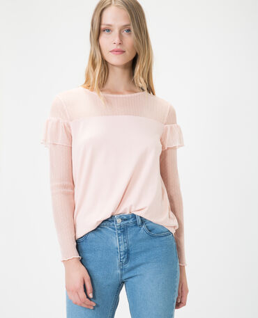 Top en plumetis rose