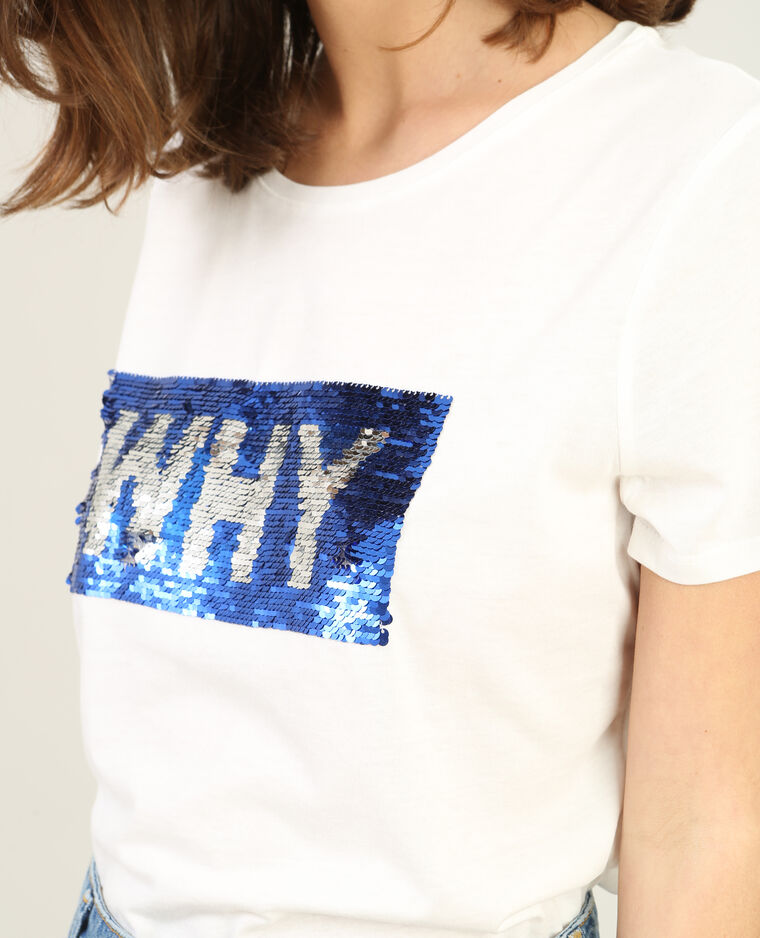 T-shirt sequins blanc cassé