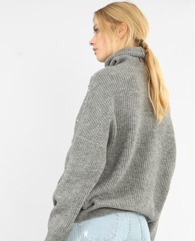 Pull oversized à perles gris chiné