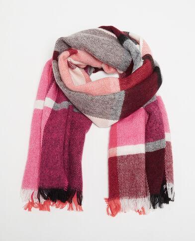 Warme sjaal met ruitjes roze