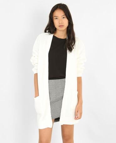 Long gilet à poches blanc