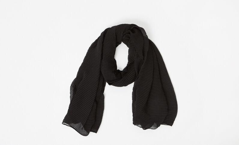 Effen geplooide sjaal zwart