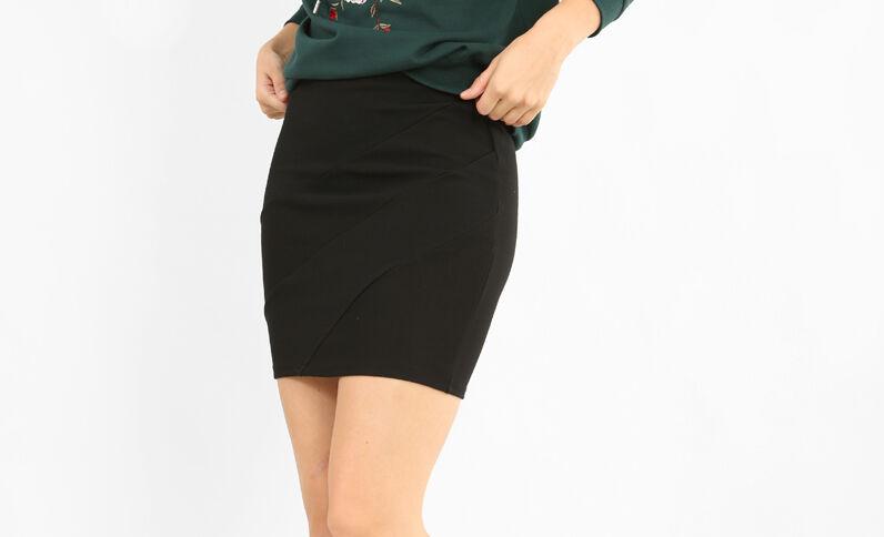 Gestructureerde strakke rok zwart