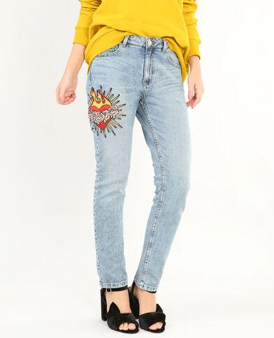 Geborduurde slim fit jeans denimblauw