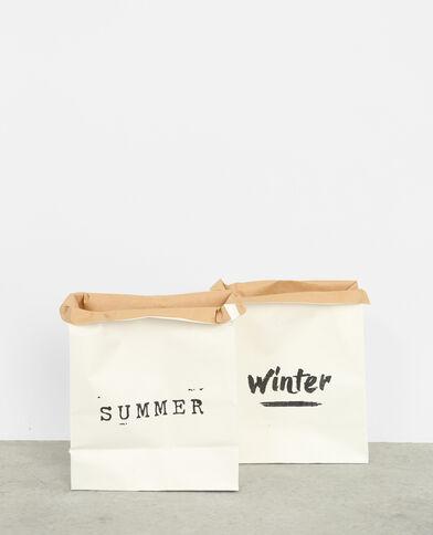 Set van 2 papieren tassen gebroken wit