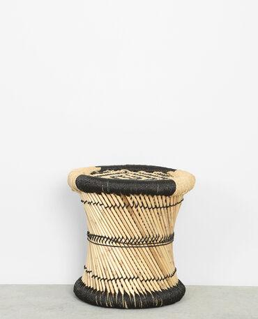 Gevlochten krukje van bamboe zwart