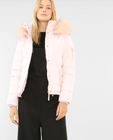 Doudoune à capuche vieux rose