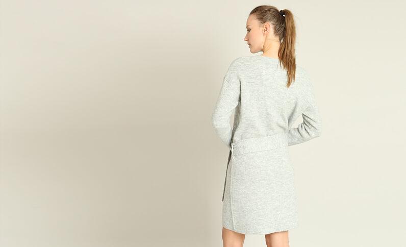 Trui-jurk met riem gemêleerd grijs