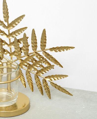 Bougeoir feuille de palmier doré