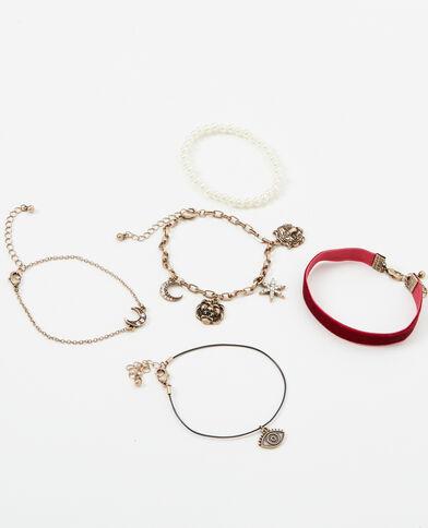 Set van 5 originele armbanden goudkleurig