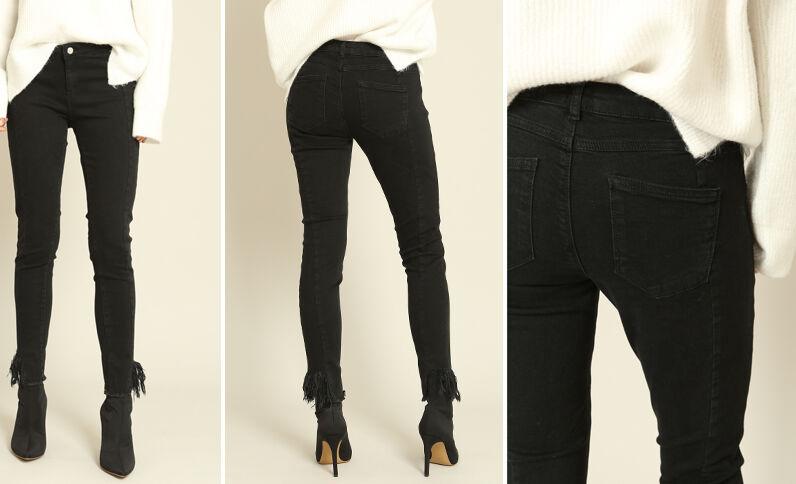 Skinny broek met franjes zwart