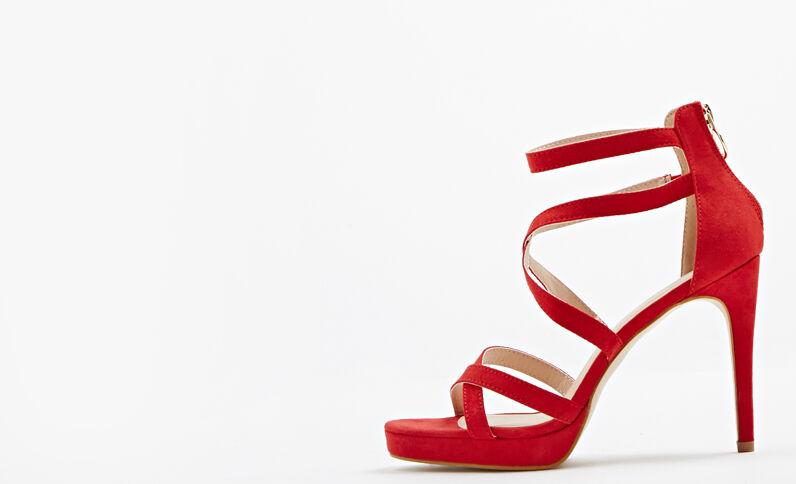 Sandalen met naaldhakken rood