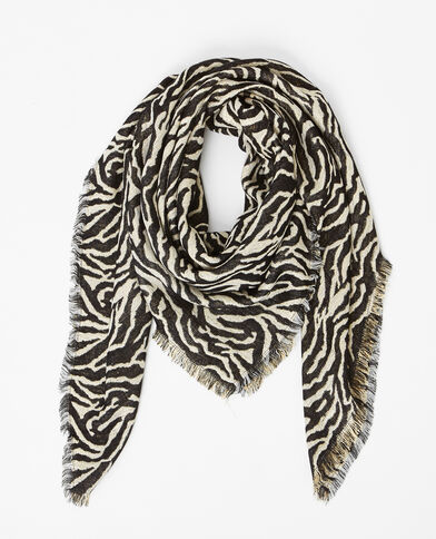 Foulard van lurex met zebraprint witgoud