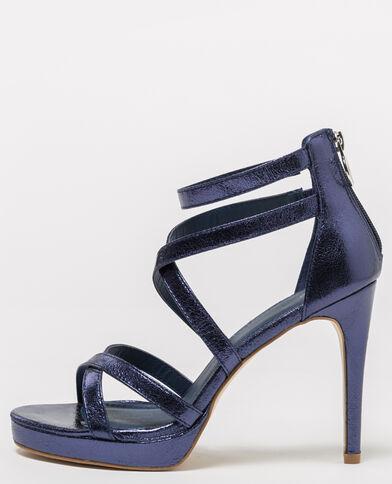 Sandalen met glanzende bandjes donkerblauw