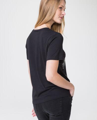 T-shirt met parels zwart