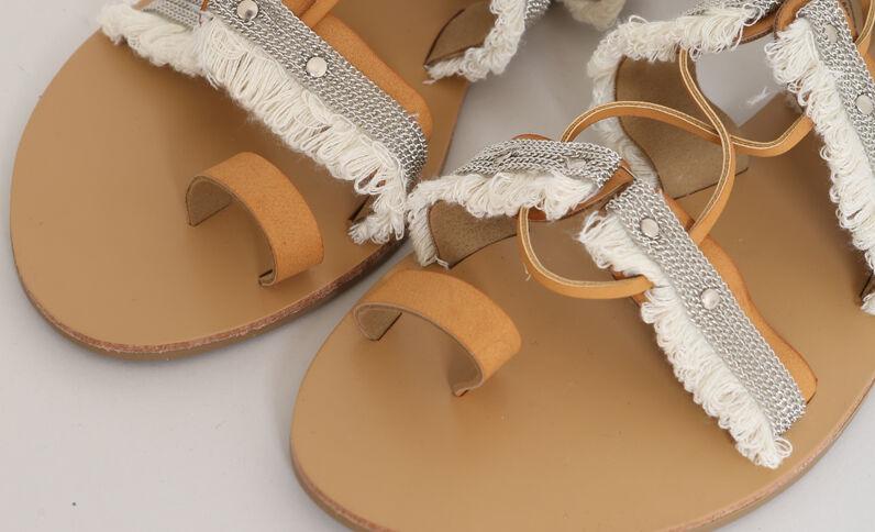 Sandalen met franjes kastanjebruin