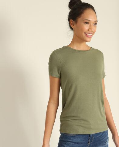 T-shirt in ribtricot groen
