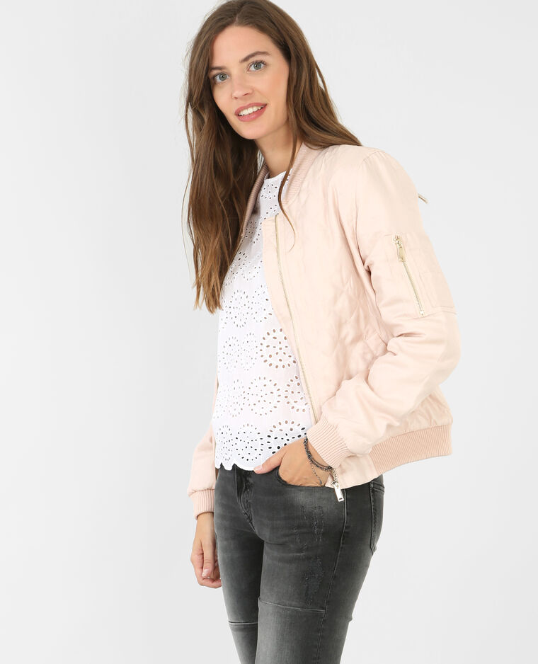 Bomber satiné rose pâle