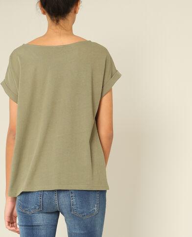 T-shirt à perles kaki