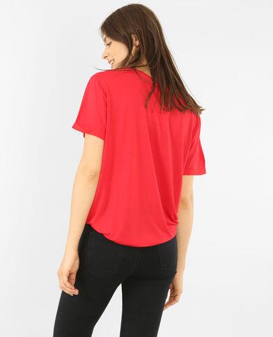 Oversized T-shirt met zakje met jeansknoop Rood