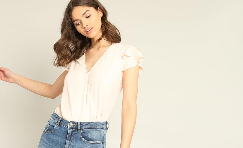 Gekruiste blouse roze