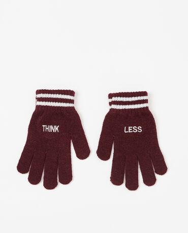 Handschoenen met opschrift granaatrood