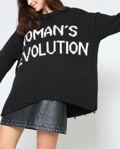 XL-trui met opschrift zwart