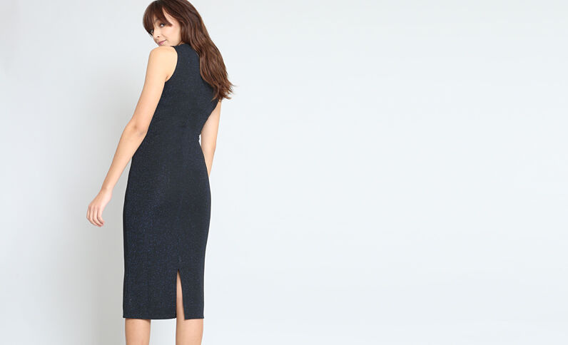 Lange strakke jurk blauw