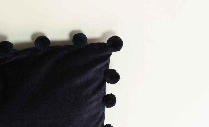 Kussenhoes met velourseffect blauw