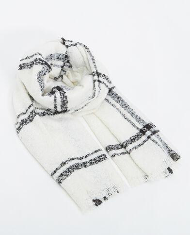 Grande écharpe à carreaux blanc cassé