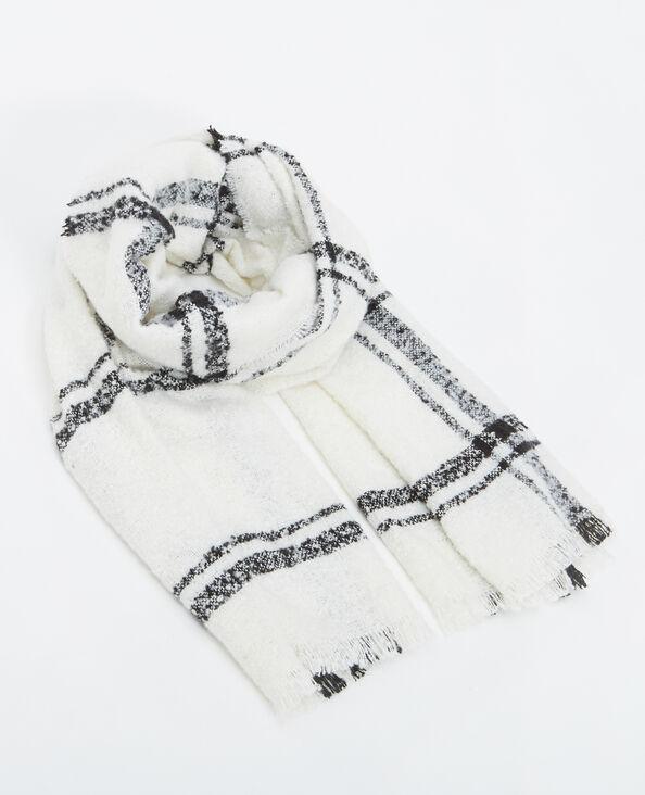 Lange sjaal met ruitjes gebroken wit