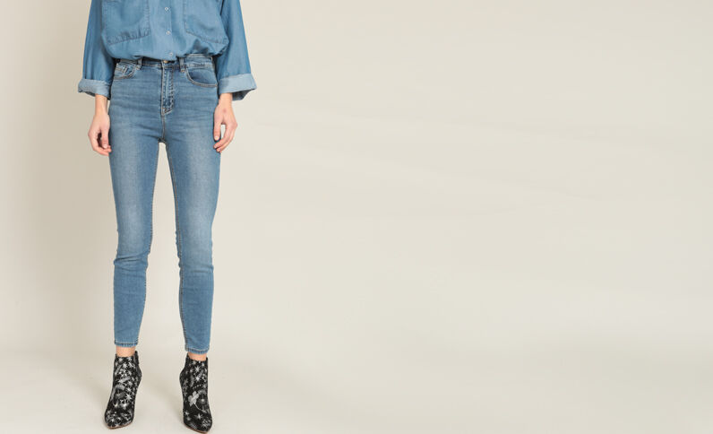 Skinny met hoge taille denimblauw