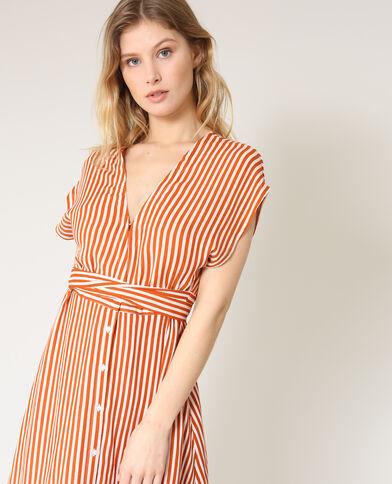 Halflange jurk met ceintuur terracotta