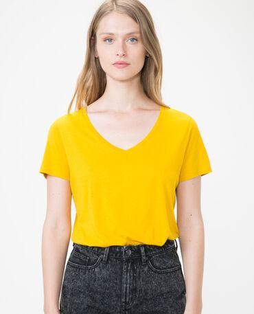 T-Shirt  met V-hals mosterdgeel