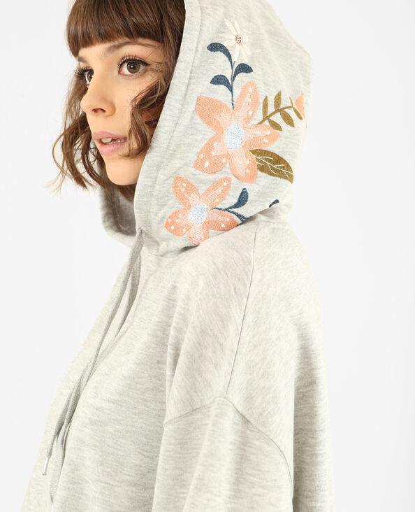 Sweater met borduursels gemêleerd grijs