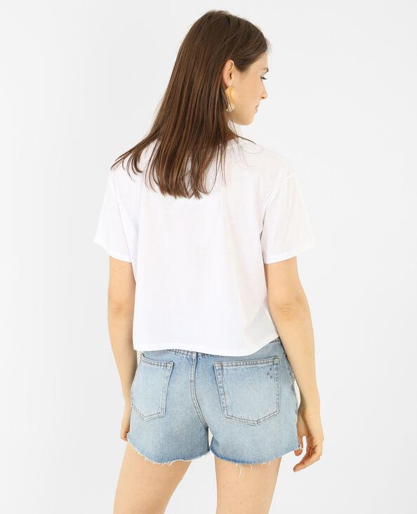 T-shirt cropped message 3D blanc