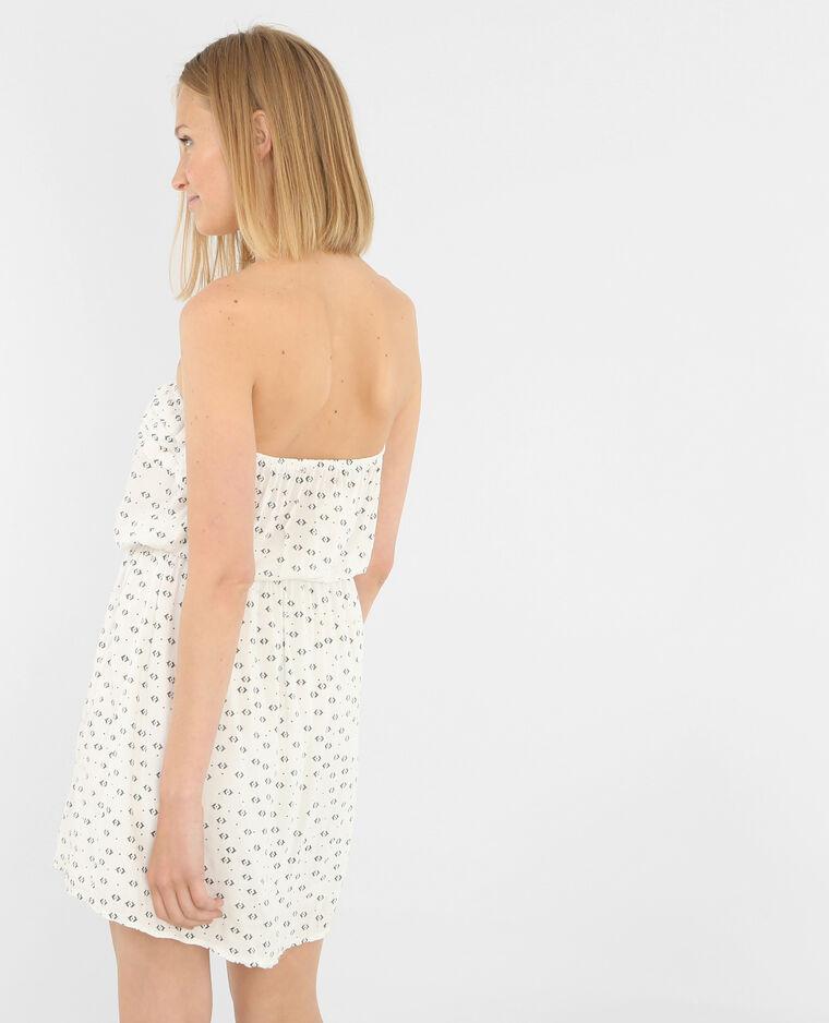 Bedrukte strapless jurk ecru