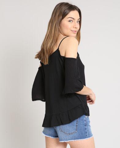 Shirt met peekaboomouwen zwart