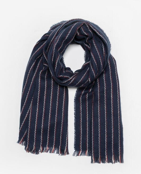 Sjaal met dunne strepen marineblauw