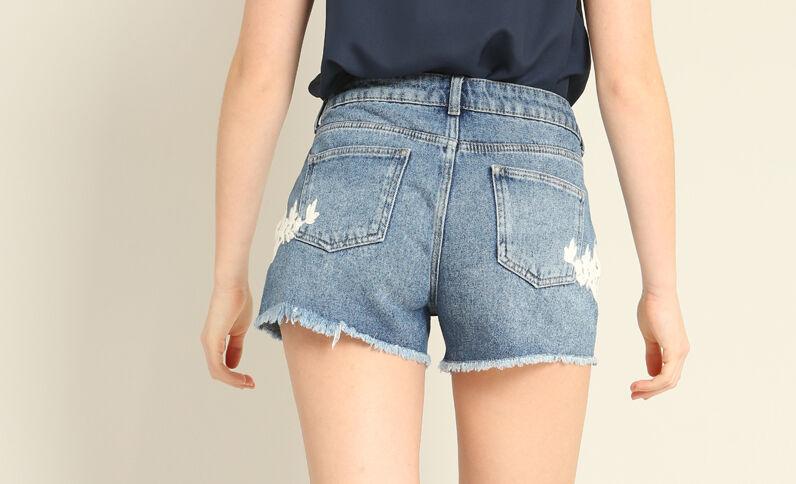 Jeansshort met geborduurde print denimblauw